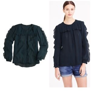 NWT J. Crew Collection picot ruffle silk blouse